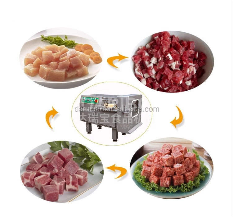 500KG/H Poultry Meat Cube Cutting Machine Frozen Beef Mutton Dicing Shreds Cutter