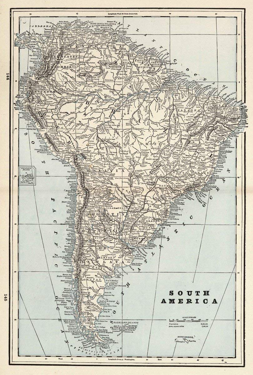1893 World Atlas | South America. (to accompany) The Columbian World's Fair atlas ... Published for: Wood Brothers Cash Store ... Unadilla, New York. (inset) Galapagos Islands. | Antique Map Reprint
