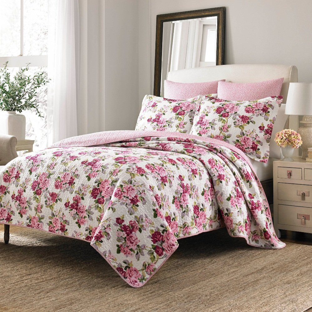 Buy 3 Piece Girls Light Pink Red White Rose Floral Theme Comforter