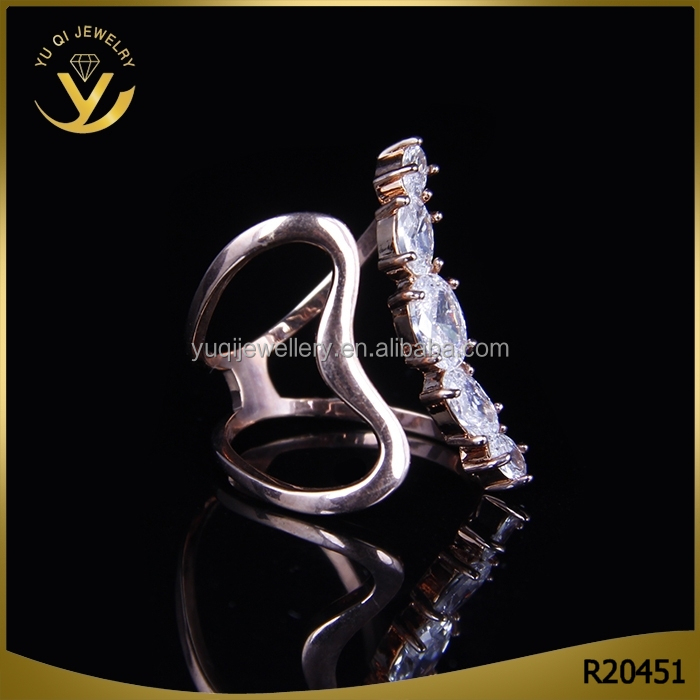 Fancy design party jewelry setting AAA zircon crystal personality gold ring