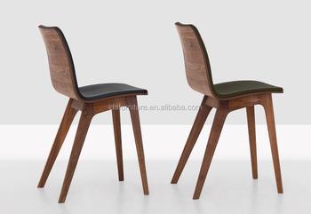 Walnoot massief houten eetkamer stoel met stof leer gestoffeerde
