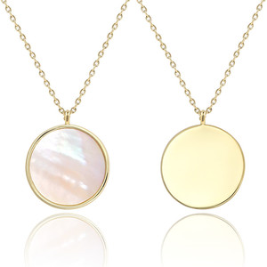 Round Disc Pendant Necklace for Women Fashion Chic Jewelry Natural Mother of Pearl Shell Charm Necklace
