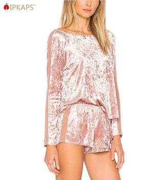 95b9c64f51 Custom High Quality Women Velvet Pajamas Sexy Nighty Sex Sleepwear Pijamas