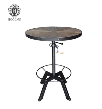 HL403 Adjustable Round Outdoor French Antique Industrial Vintage Furniture Bar  Table