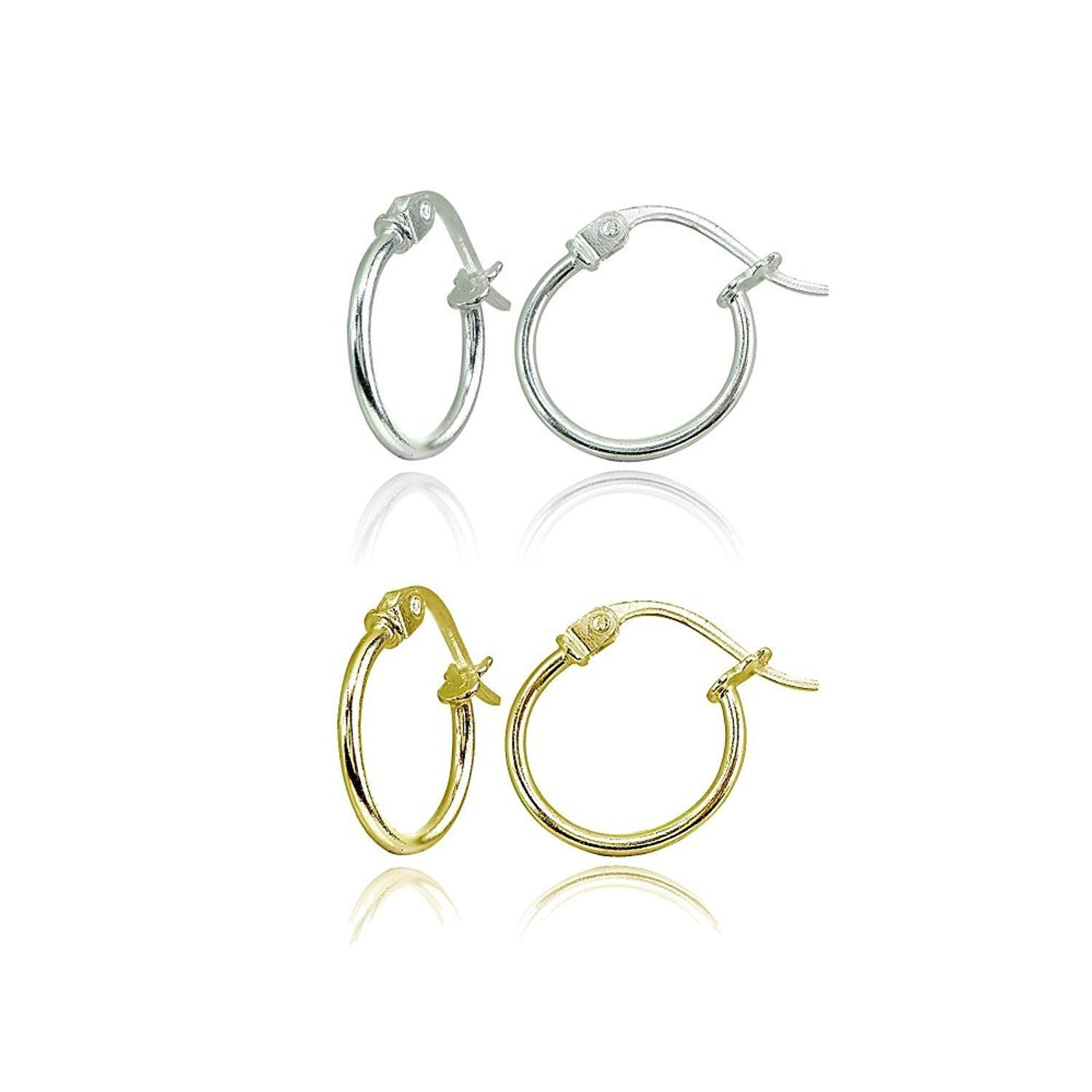Rose Gold Flashed Sterling Silver Tiny or Small High Polished Round Thin Lightweight Unisex Click-Top Hoop Earrings Choose a Size