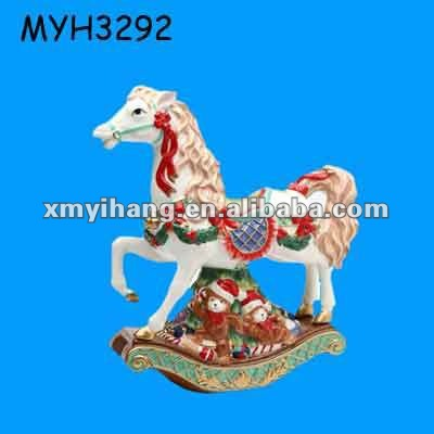 Polyresin Large Carousel Rocking Horse with Toys