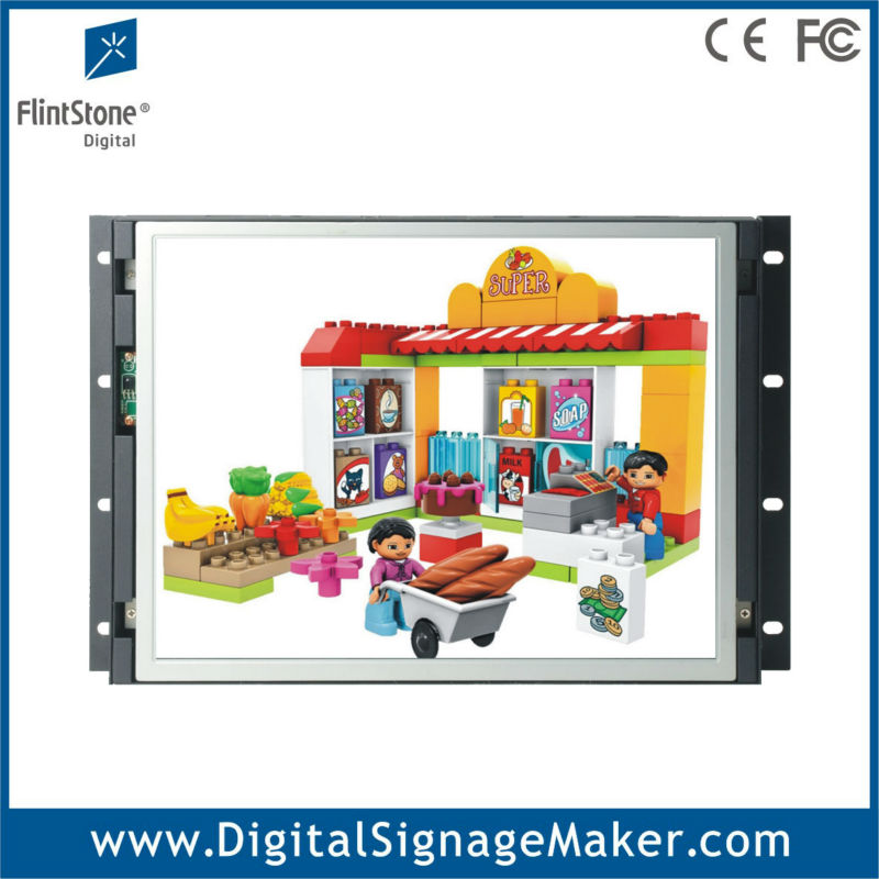 Flexible embed 15 inch 1080P HD open frame tft screen lcd advertising display