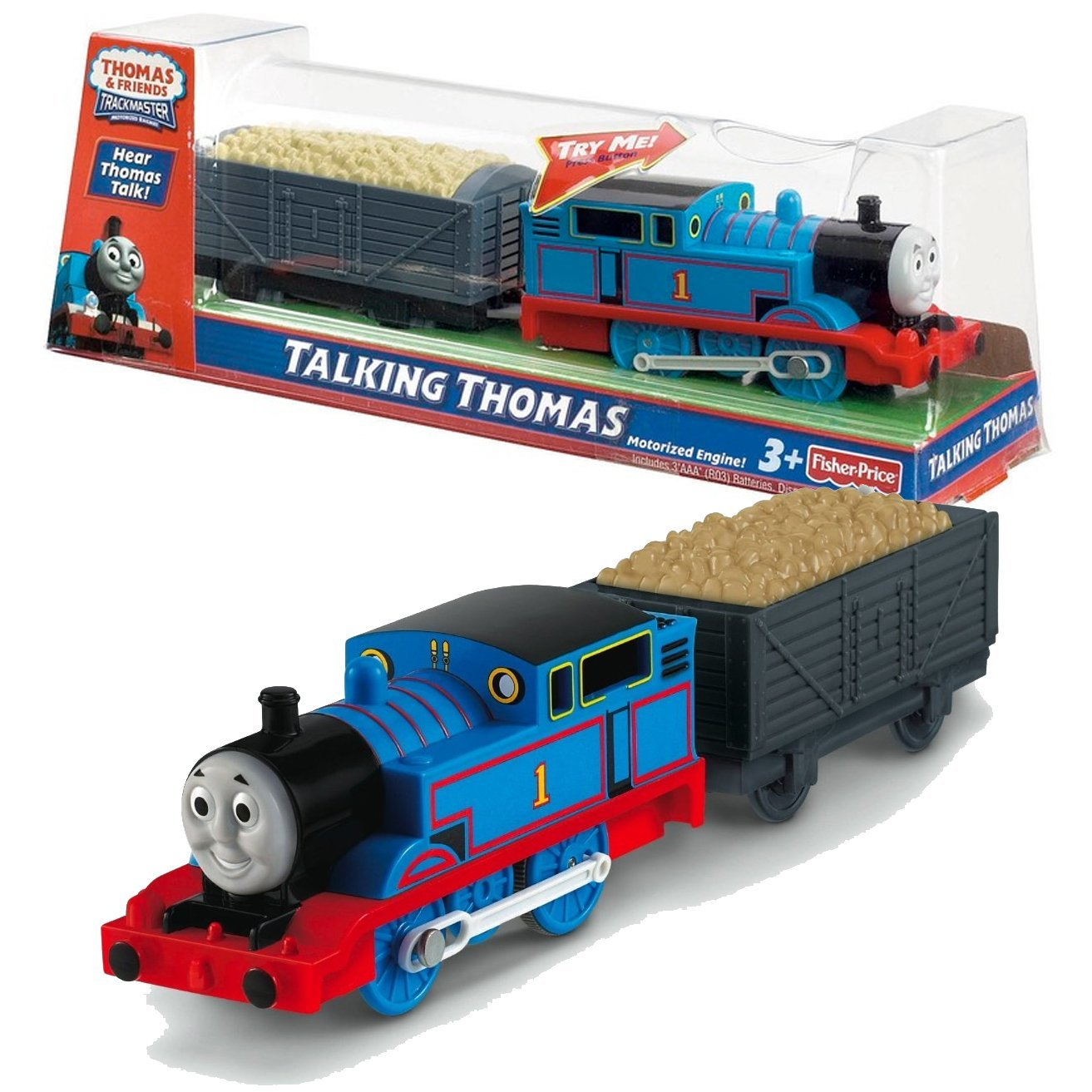 "Fisher Price Year 2012 Thomas and Friends Trackmaster ""TALKING"" Series Motorized Railway Battery Powered Tank Engine Train Set - TALKING THOMAS with Rock Loaded Wagon"