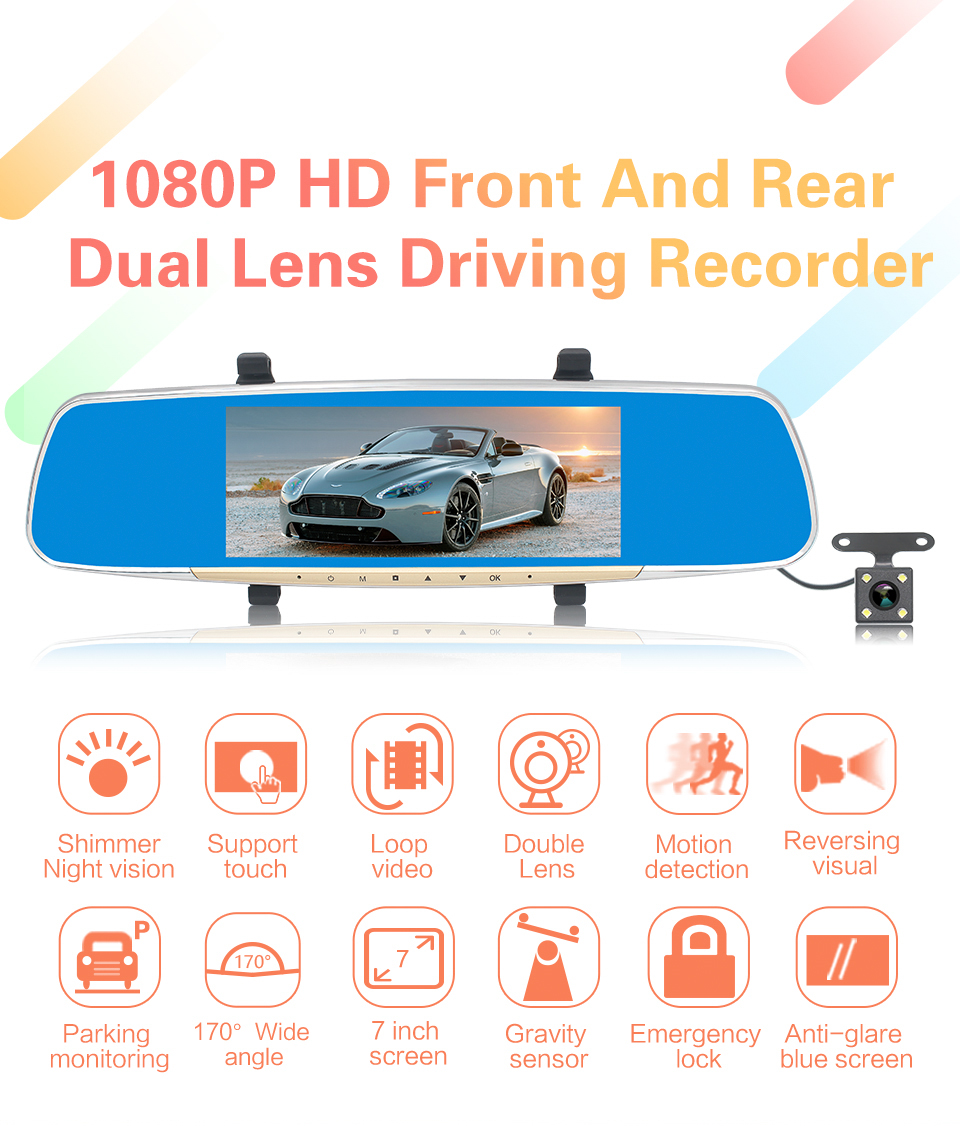 7 inch touch screen dual cameras rearview mirror 1080p car black box