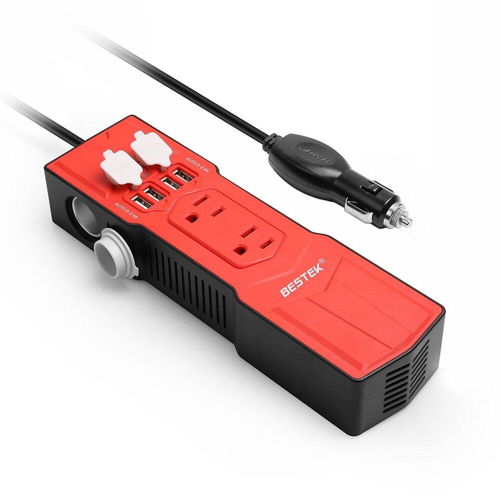 BESTEK 200W Power Inverter DC 12V to AC 110V Car Inverter with 4.8A 4 USB Ports Car Adapter and Car Cigarette Lighter Socket