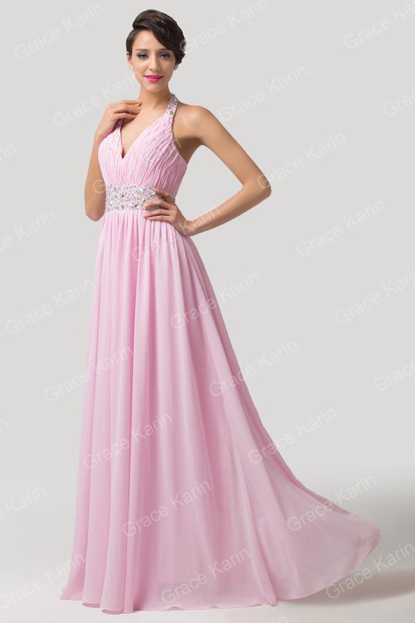 los vestidos de fiesta halter 2015 recién llegado rosa elegante piso ...
