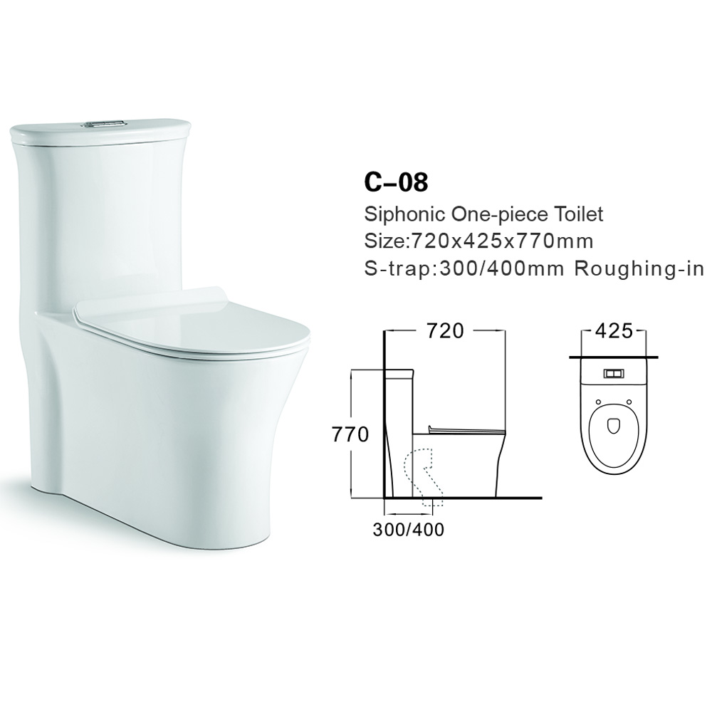 C-08 Siphonic Sanitaryware Ceramic One-piece Toilet