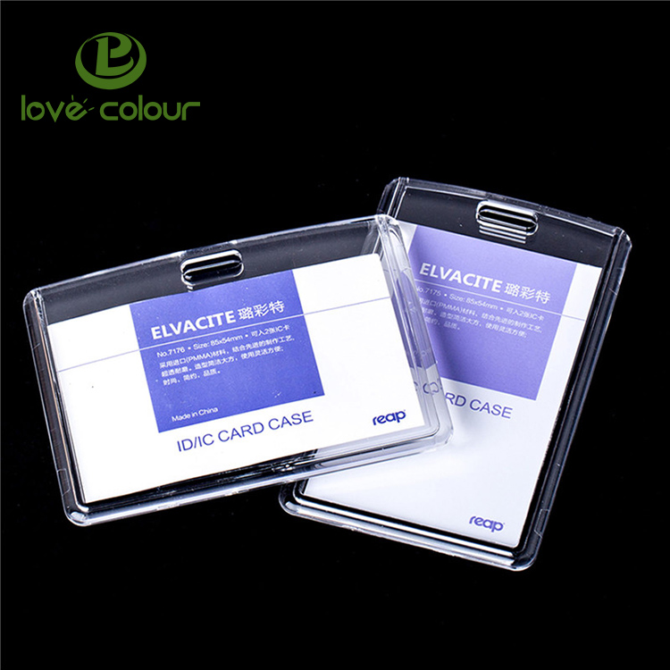 Custom Office School Exhibition Employee Transparent Acrylic Business Id Badge Card Holder