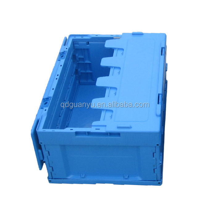Foldable plastic logistic box with lid for fruit and food transportation