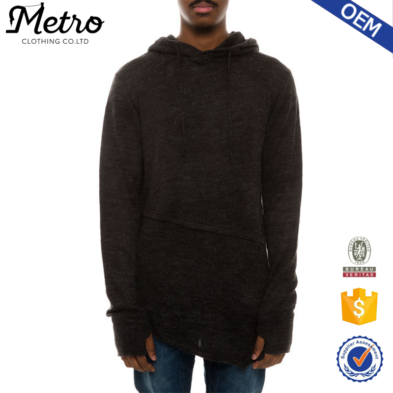 Bamboo Cotton French Terry Men's Hoodies Heather Black OEM pullover