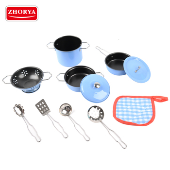 Zhorya High Quality Kids Blue Stainless Steel Play Kitchen Cooking