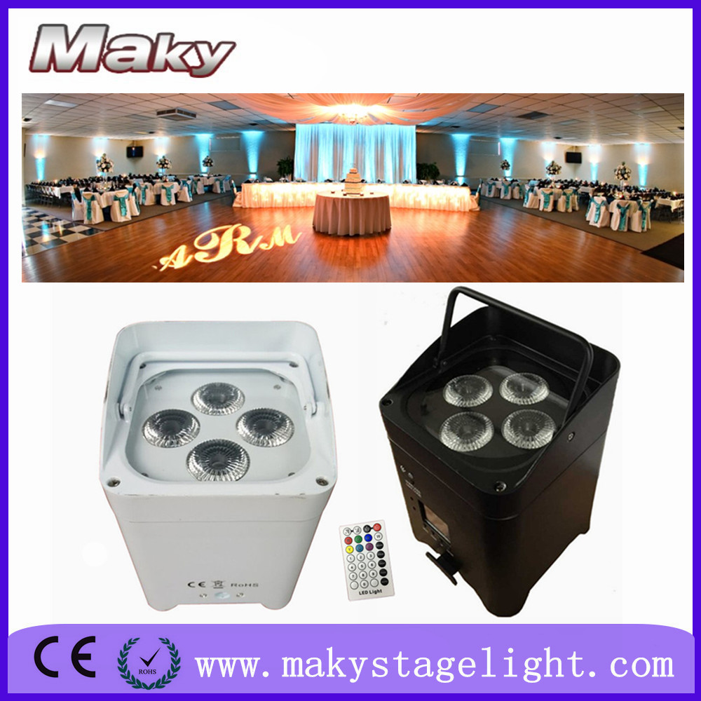 MAKY MQ-G103A 4*18w rgbwauv wireless dmx battery powered china low profile floor led par can lights for party club KTV pub