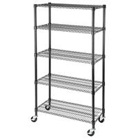 WHALE New Style 5 Tier Heavy Duty Mobile Wire Shelving Rack Powder Coated
