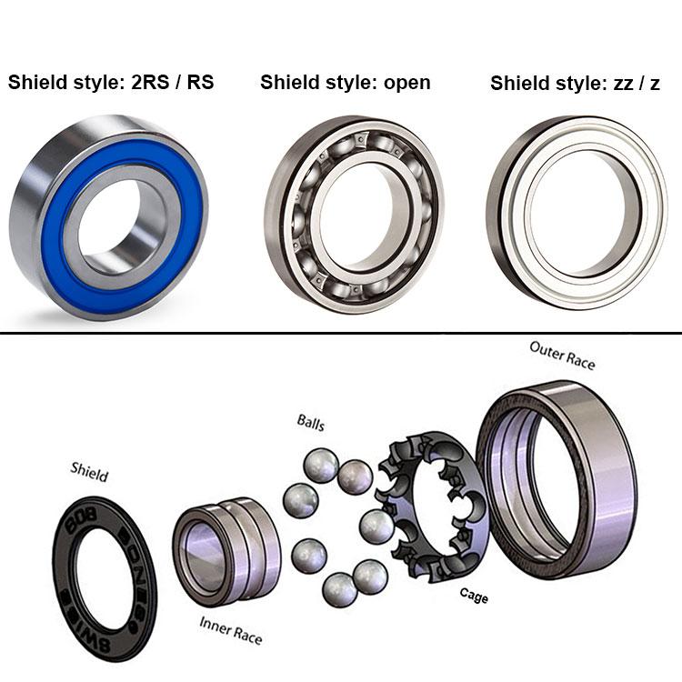 6001RS 12x28x8 mm 6001-2RS HYBRID CERAMIC Si3N4 Ball Bearing QTY 2 Black