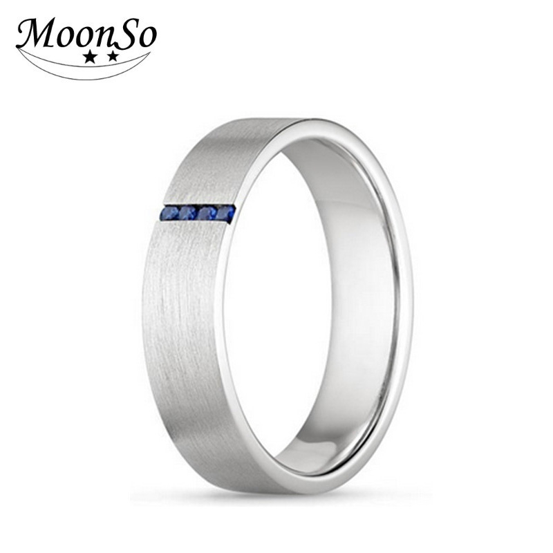 925 Sterling Silver Ring With Artificial Diamond Men's Wedding Ring Moonso AR2138S