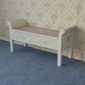 Modern Concise Style Cream Wood 2 Drawer Bedside Chair