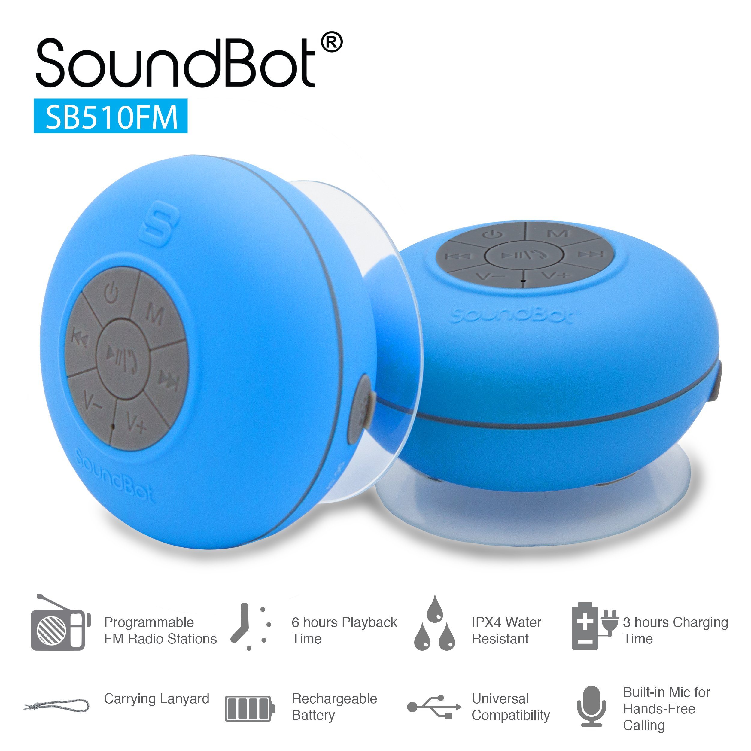 SoundBot® SB510FM FM RADIO Water Resistant Bluetooth Wireless 5W Shower Speaker HandsFree Portable Speakerphone w/ Auto-Scan Tuner, 6Hrs Music Streaming, Built-in Mic, Detachable Suction Cup, Lanyard