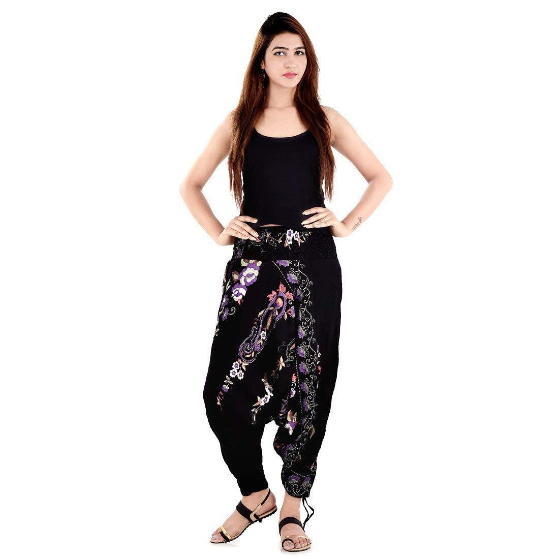 3a7a1c021b9d Get Quotations · Black Sanganeri Floral Printed Pure Cotton Harem Pants