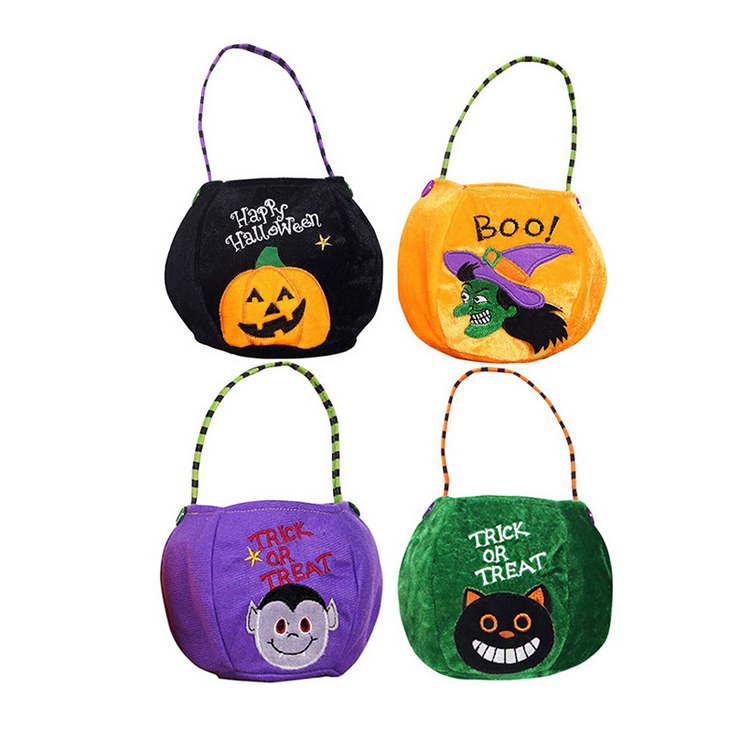 ad5bb70d2f Cartoon Party Kids Pumpkin Black Cat Witch White Ghost Fabrics Sugar Bag  Halloween Decoration