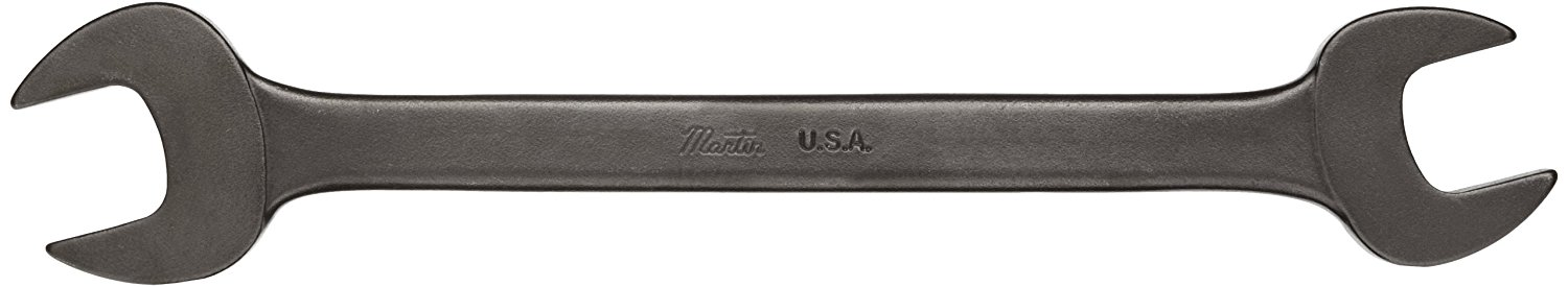 """Martin BLK1029 Forged Alloy Steel 11/16"""" x 25/32"""" Opening Offset 15 Degree Angle Double Head Open End Wrench, 8-1/2"""" Overall Length, Industrial Black Finish"""