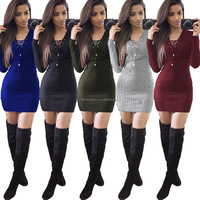 long sleeve bodycon woman dress v neck string up woman sweater knitwear