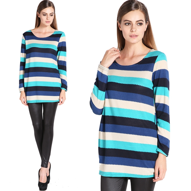 6e333b3a350 Get Quotations · New Fashion Women Long Sleeve O-neck Loose Flannel Striped  Women T-shirt Tops