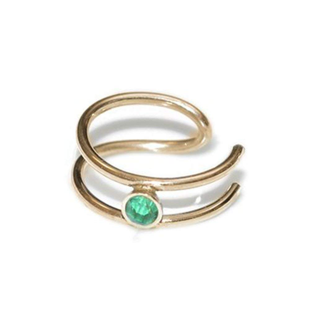 2mm Emerald Gold Nose Ear Cuff/fake piercing ring, faux helix jewelry