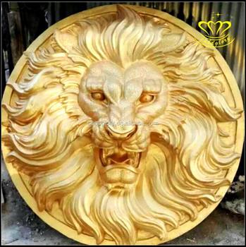Wild Animal Bust Gold Lion Head Hanging Wall Resin Fiberglass Statue Bronze  Sculpture Home Decor