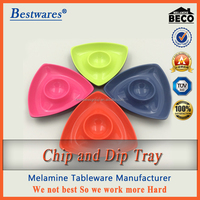BPA free 2016 latest melamine plastic 4 color chip and dip tray
