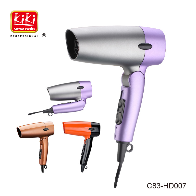 KIKI NEWGAIN 1200w foldable household mini Portable DC travel Hair dryer