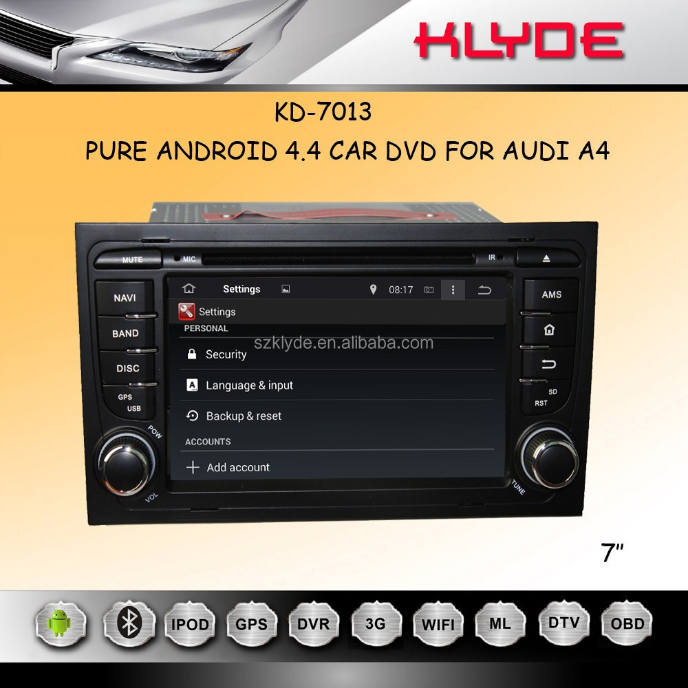 ANDROID 4.4.4 QUAD CORE 16GB 1024*600 MIRROR LINK REAR MONITOR SUPPORT a4 autoradio gps dvd