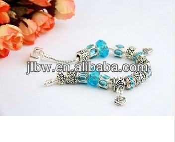 Newest Arrival European Style 925 Silver Crystal Charm Bracelet for Women With Blue Murano Glass Beads DIY Jewelry PA1394