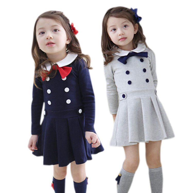 Hot selling kids clothes bow design girls dresses spring autumn school dress cotton double-breasted buttons children clothing