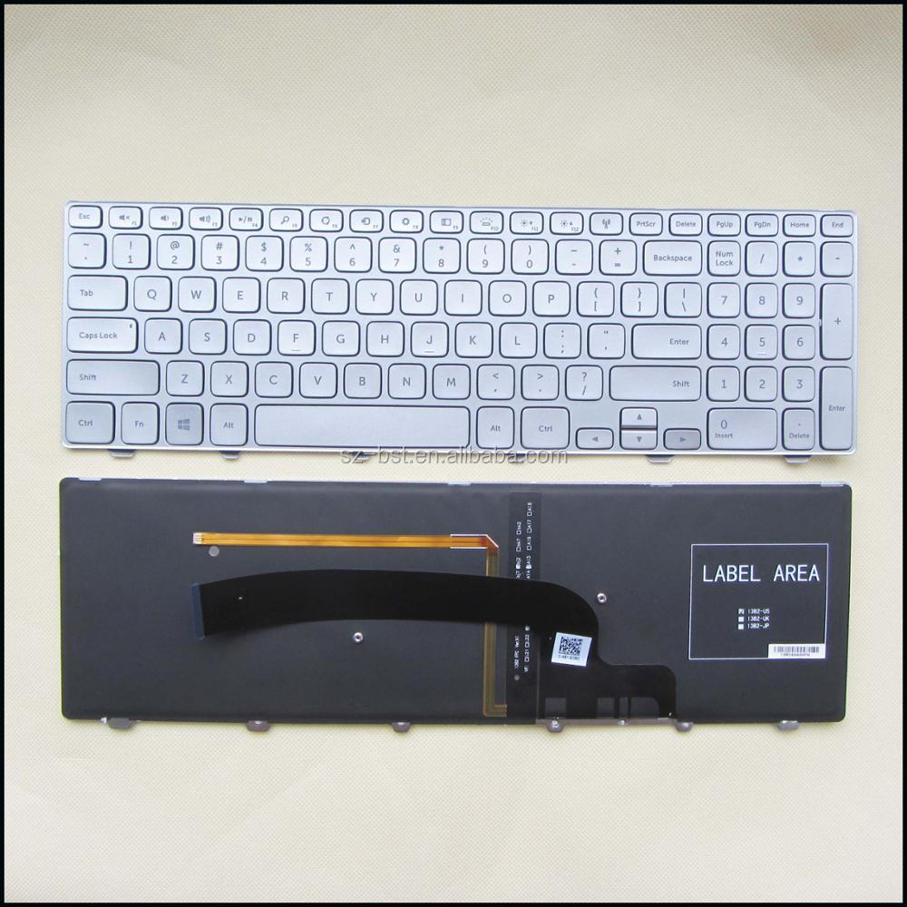 NEW FOR Dell Inspiron 15 7000 Series 7537 Keyboard Backlit frame Silver US layout