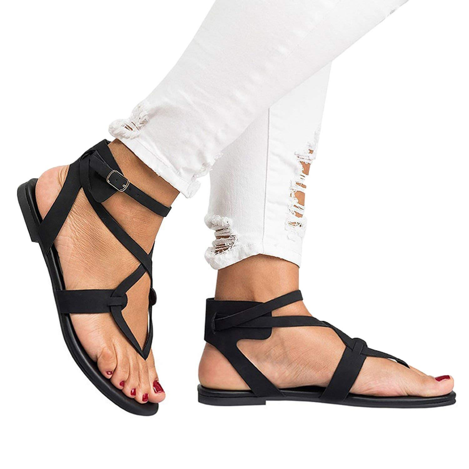 b8b737f73e3 Get Quotations · Romantic moments New Arrive Women Gladiator Sandals Summer  Women Shoes Plus Size 35-43 Flats