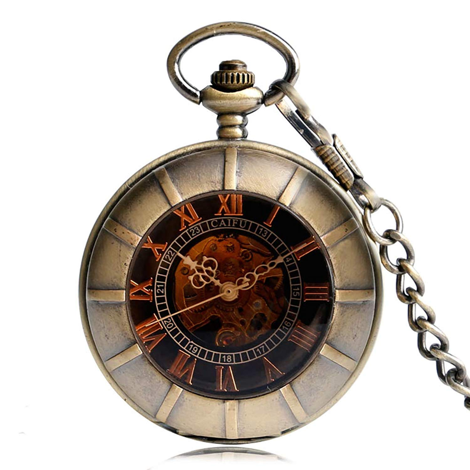 5d89ee9f7 Get Quotations · Bronze Vintage Pocket Watch, Double Hunter Skeleton  Mechanical Chain Pocket Watch, Special Gift for
