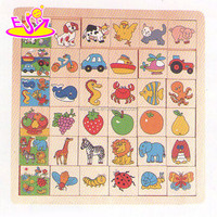 Cute cartoon wooden puzzle game for kid,Wooden Children Jigsaw puzzle game,Good sale 3d wooden puzzle for preschool W14C216