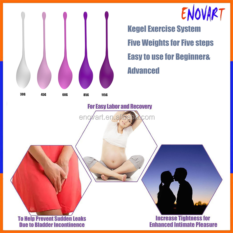 Silicone Kegel Ben Wa / Pelvic Exercise & Bladder Control Kit - 5 pc. Removable Balls of Varying Weight