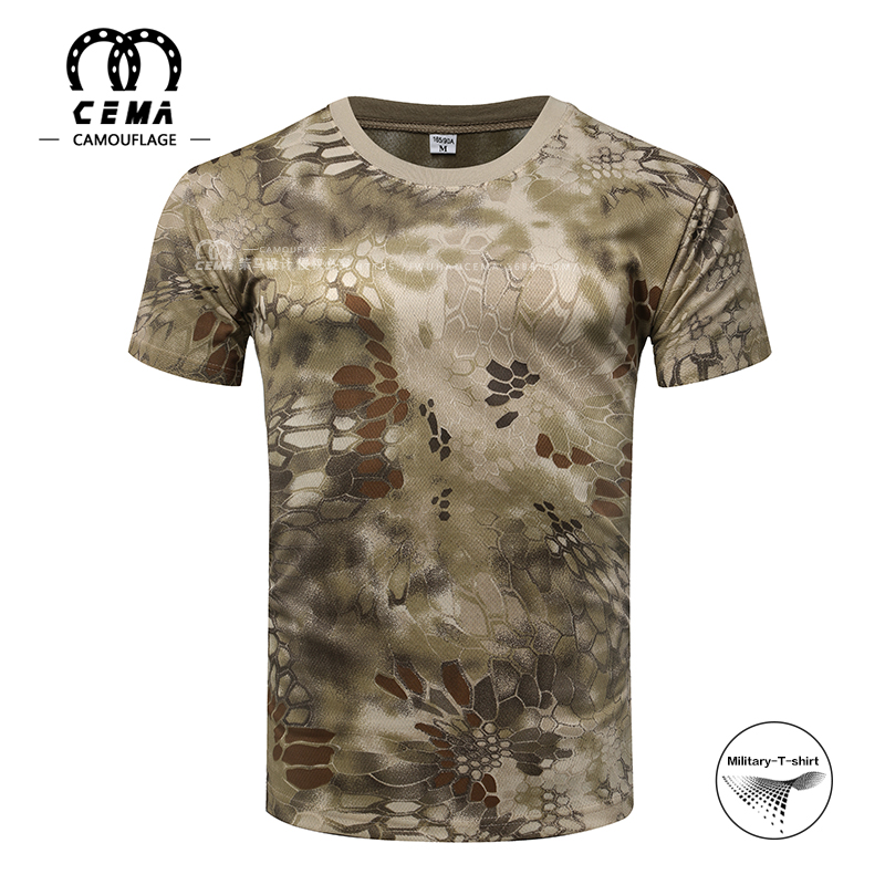 New designs multi color desert python camouflage military t-shirt