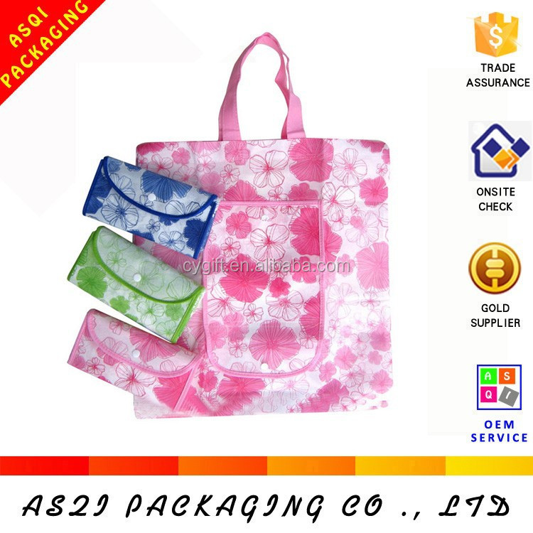 reusable full flowers printed foldable shopping supermarket bag with pocket
