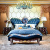 Luxury French Solid Wood 24K gold plated King/Queen Size Bed With Leather Headboard CH1