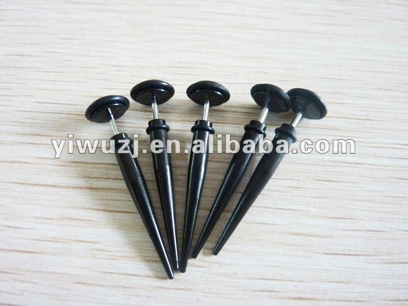 2012 Wholesale New Hot Charm Gauges 316L Surgical Stainless Steel Double O-ring Plated Titanium Black Fake Taper