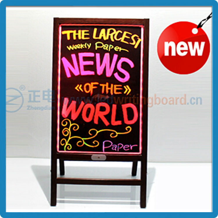 wooden alike glass and acrylic electronic advertising bar neon led sign writing board