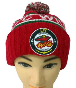 d8cc9344b71 Customized Jacquard pattern embroidery patch logo with top Pom knitted  acrylic beanie cap hat