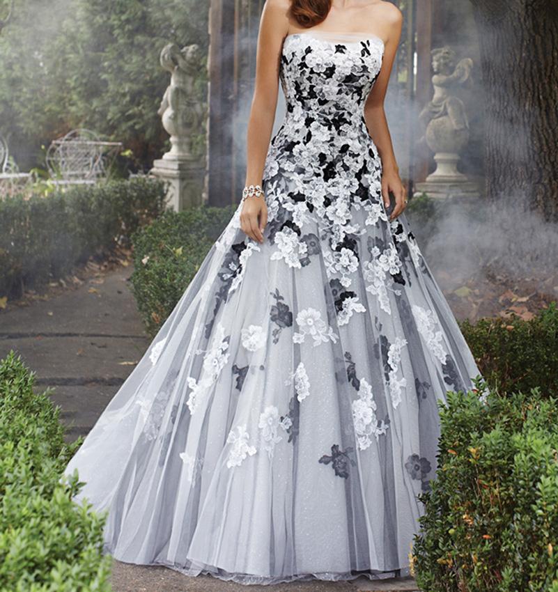 2016 White And Black Gothic Wedding Dresses Strapless